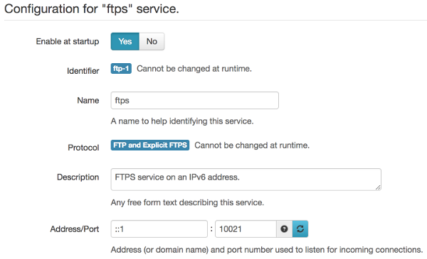 FTPS service including IPv6 address option.