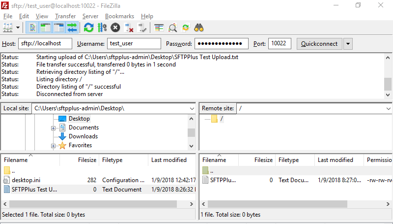 SFTPPlus FileZilla Upload