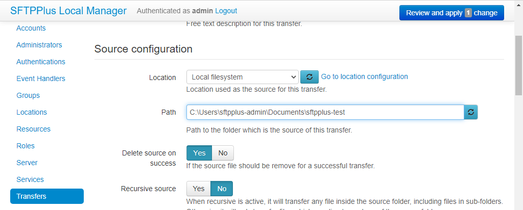 SFTPPlus Transfer Source Configuration