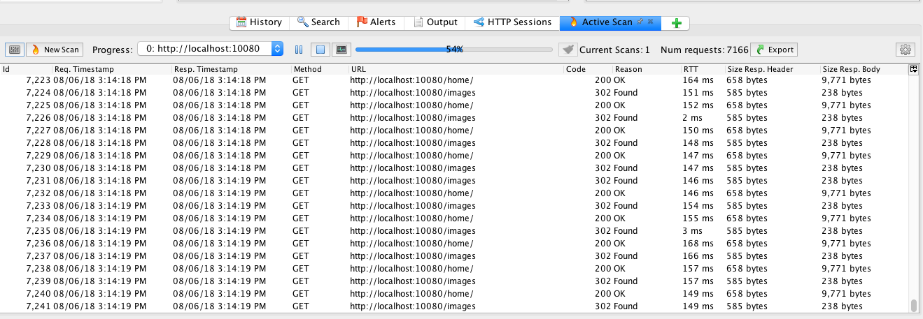 OWASP HTTP Sessions pane with populated Session Tokens' Values
