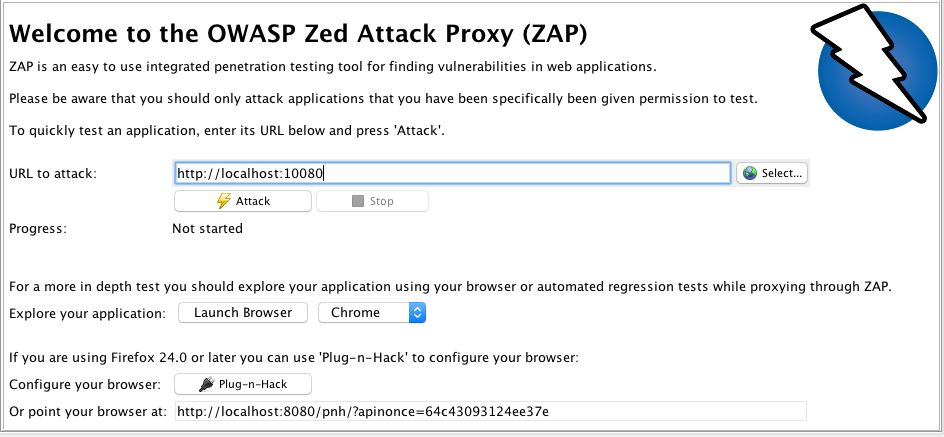 OWASP zaproxy Welcome pane