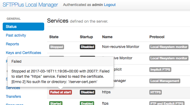 Local Manager GUI - Find out any failed states including the source of the error