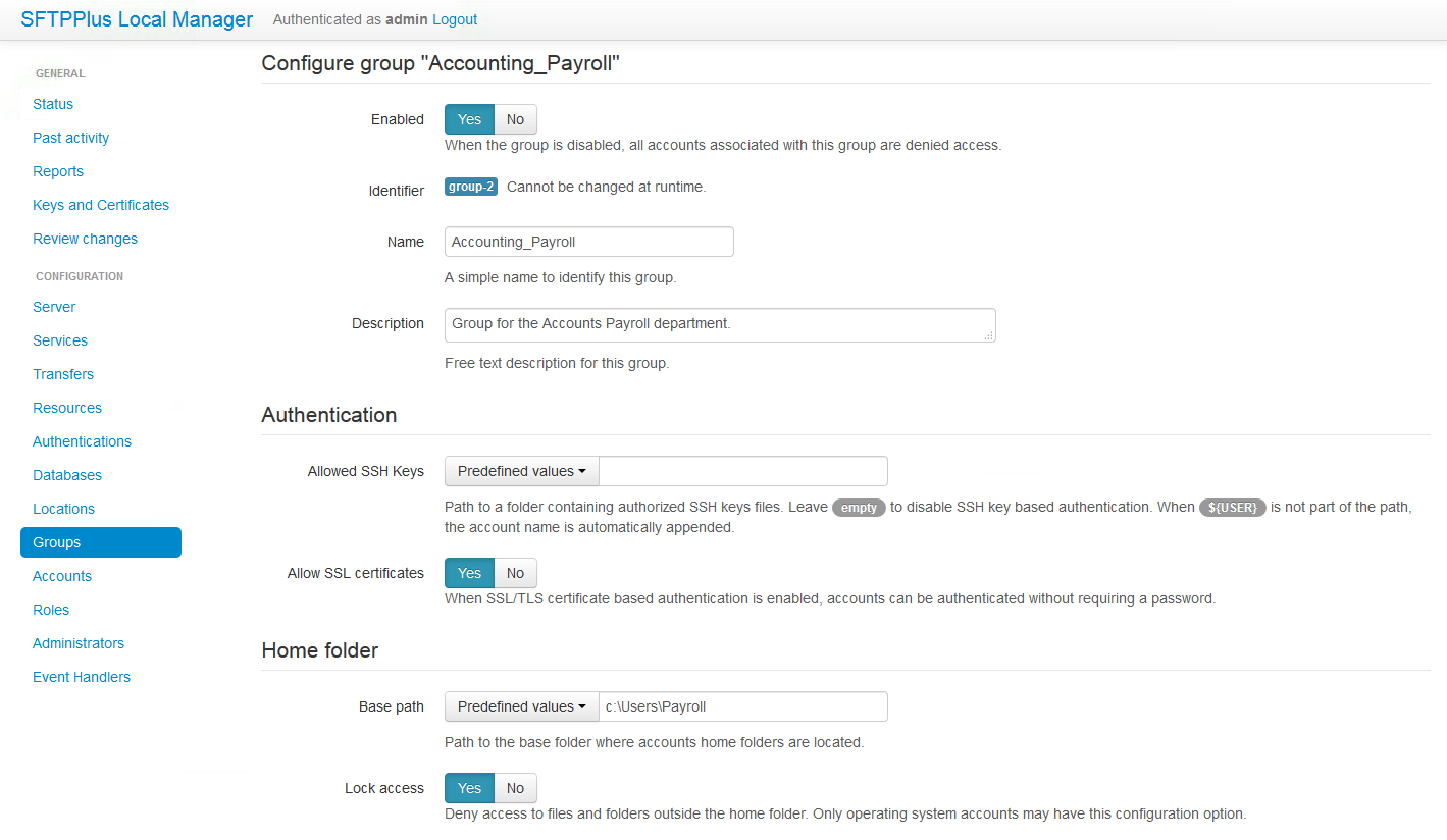 Group configuration options are modified in a similar way to any account configuration option.