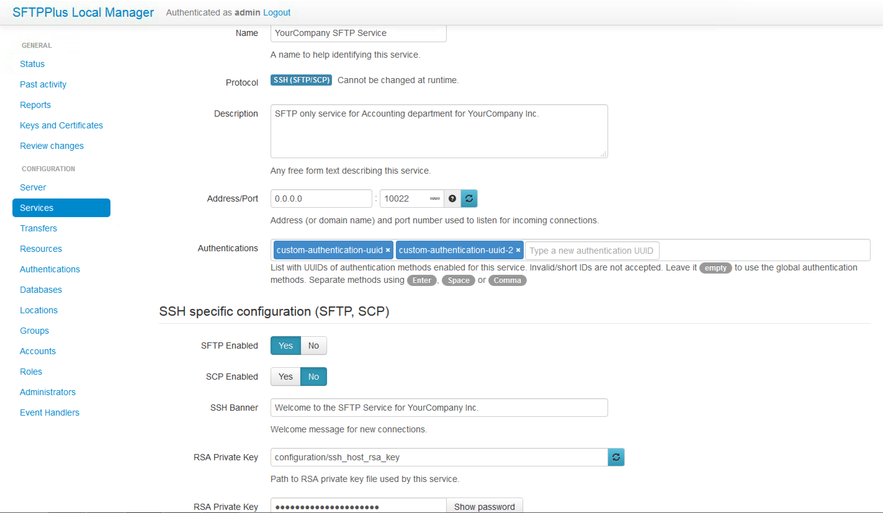 Detailed configuration options available for SFTP / SCP based services.