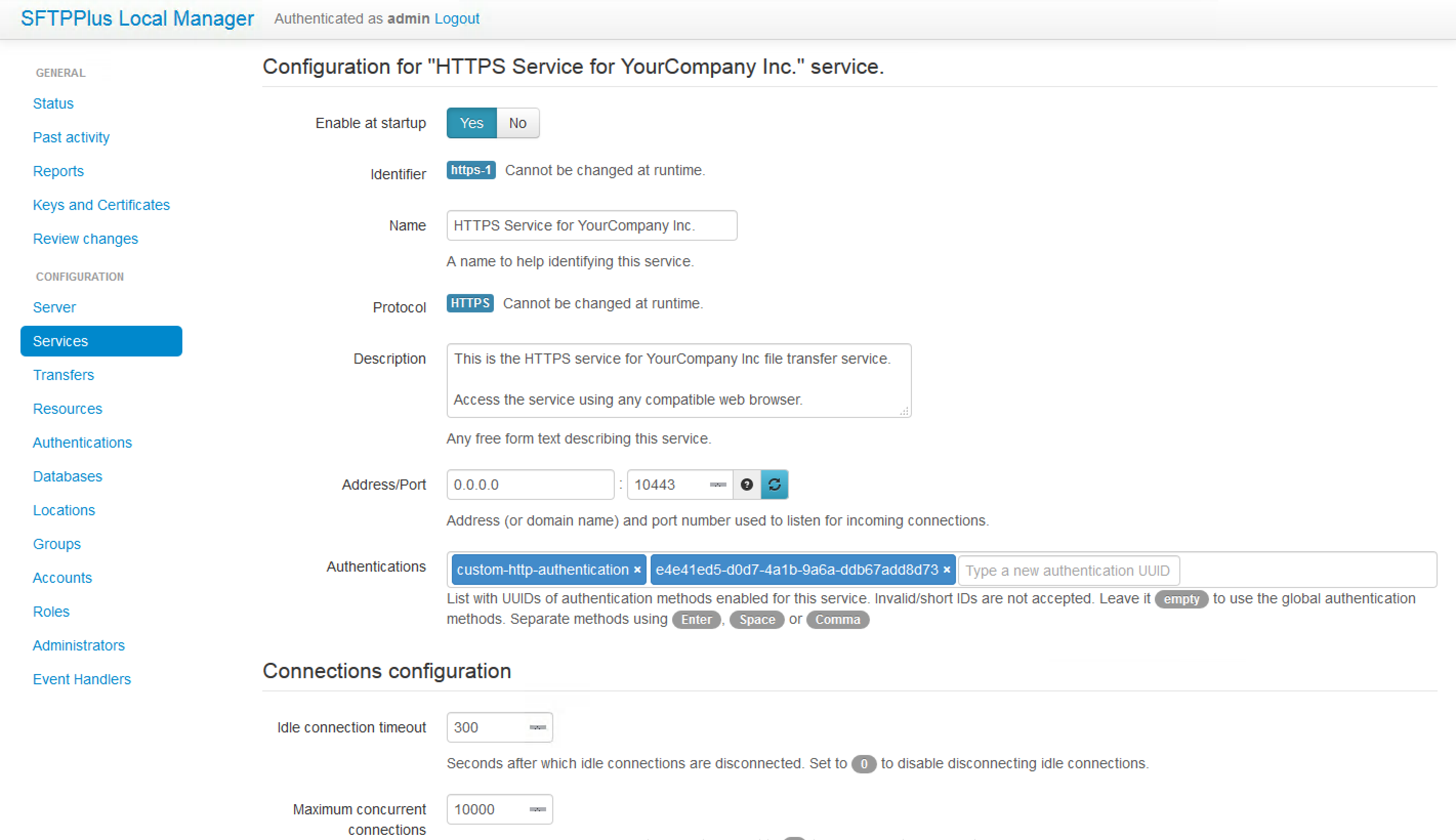 HTTP / HTTPS options available for web browser file transfer manager.